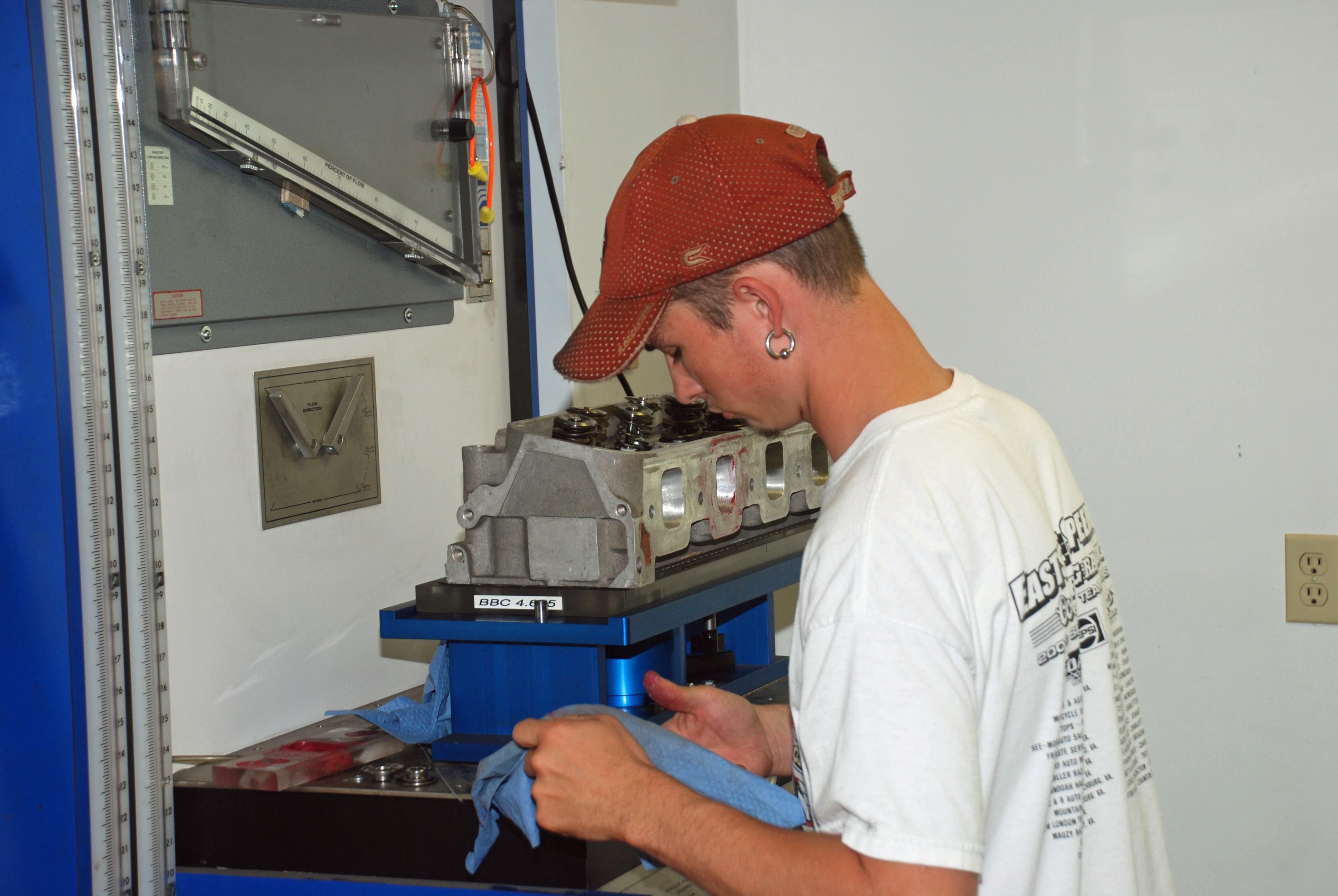James on the Superflow 600 bench,collecting data for camshaft design, E460 heads